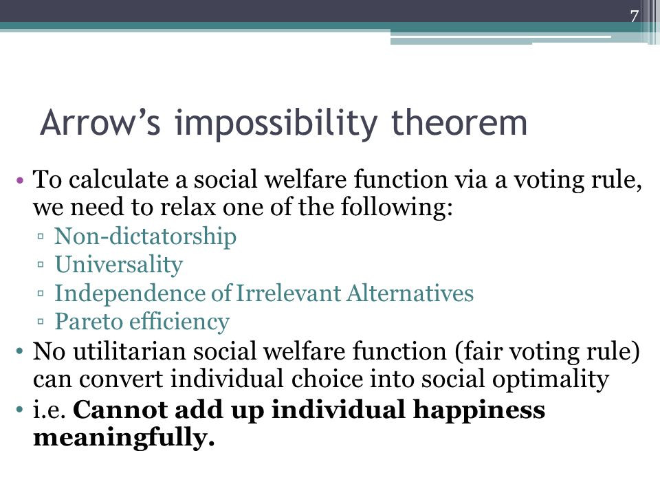 Arrow's impossibility theorem To calculate a social welfare function via a voting rule, we need to relax one of the following: ▫Non-dictatorship ▫Universality ▫Independence of Irrelevant Alternatives ▫Pareto efficiency No utilitarian social welfare function (fair voting rule) can convert individual choice into social optimality i.e.