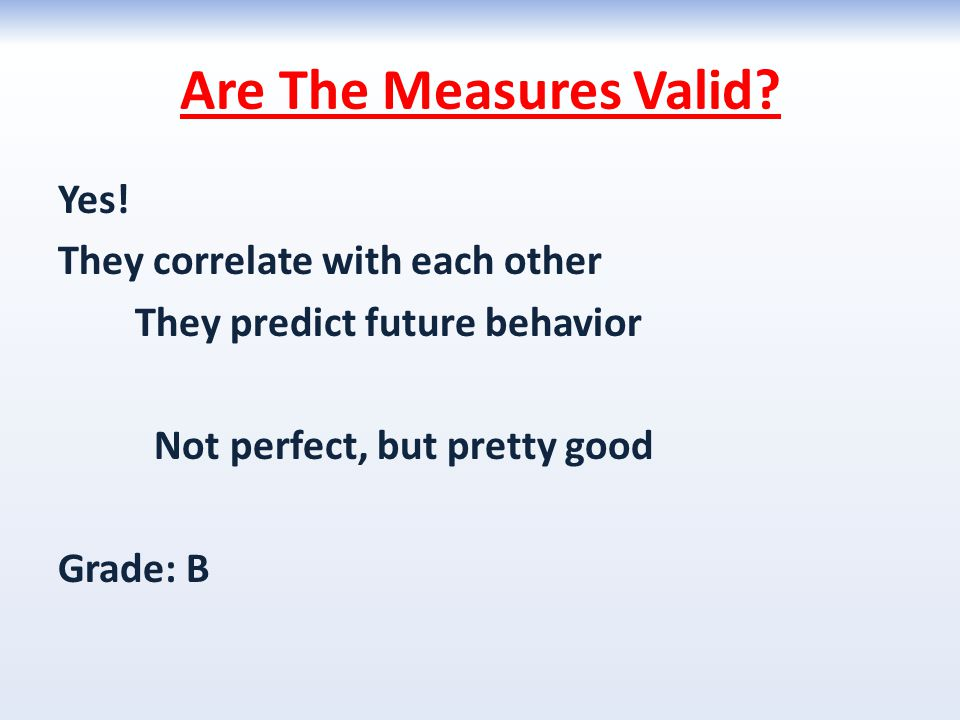 Are The Measures Valid? Yes! They correlate with each other They predict future behavior Not perfect, but pretty good Grade: B