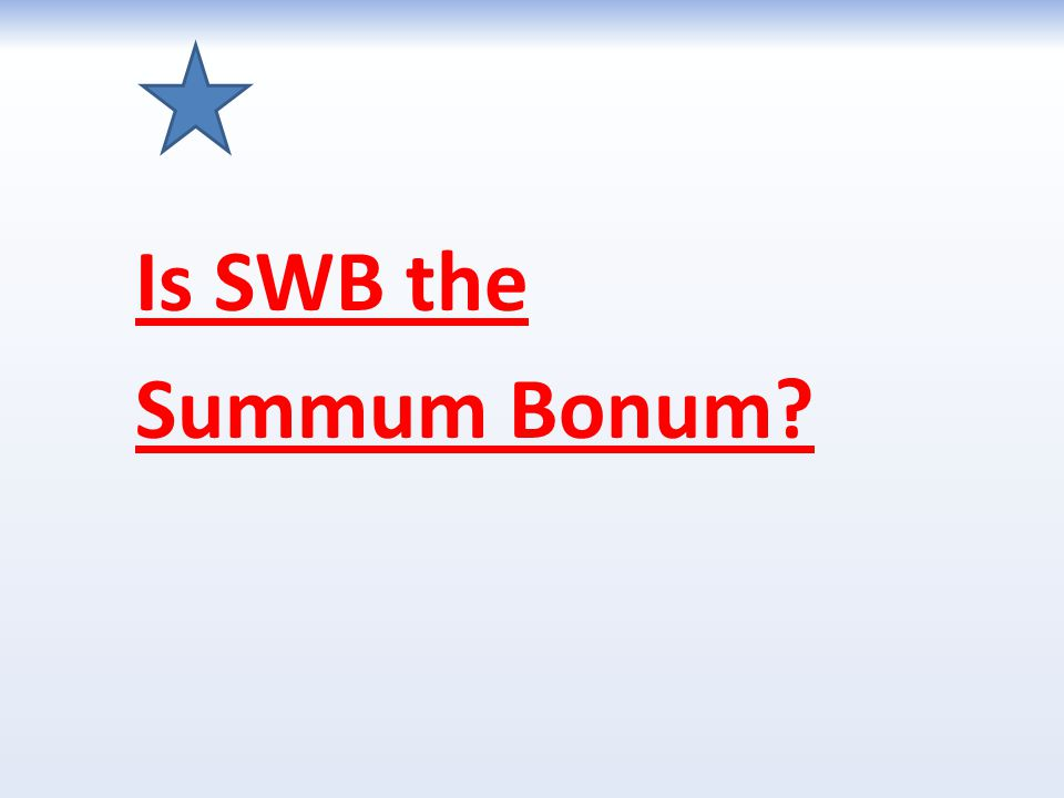 Is SWB the Summum Bonum?