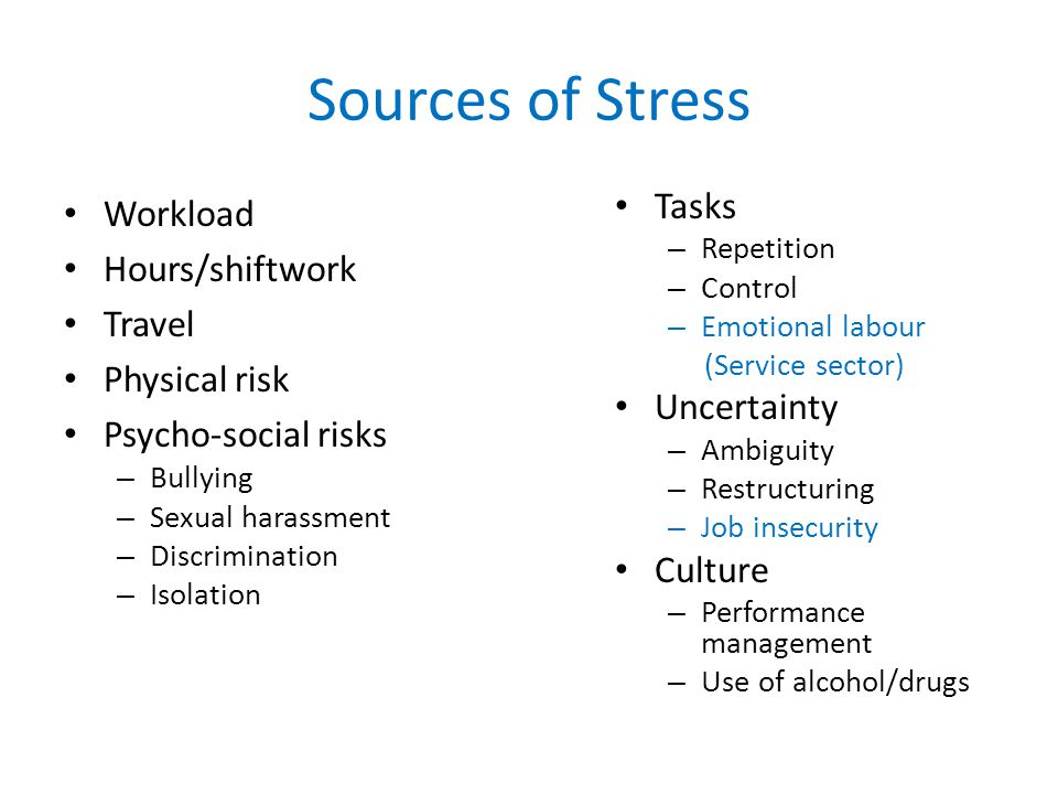 Sources of Stress Workload Hours/shiftwork Travel Physical risk Psycho-social risks – Bullying – Sexual harassment – Discrimination – Isolation Tasks – Repetition – Control – Emotional labour (Service sector) Uncertainty – Ambiguity – Restructuring – Job insecurity Culture – Performance management – Use of alcohol/drugs