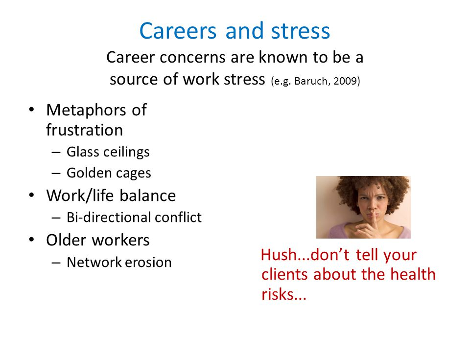 Careers and stress Career concerns are known to be a source of work stress (e.g. Baruch, 2009) Metaphors of frustration – Glass ceilings – Golden cage