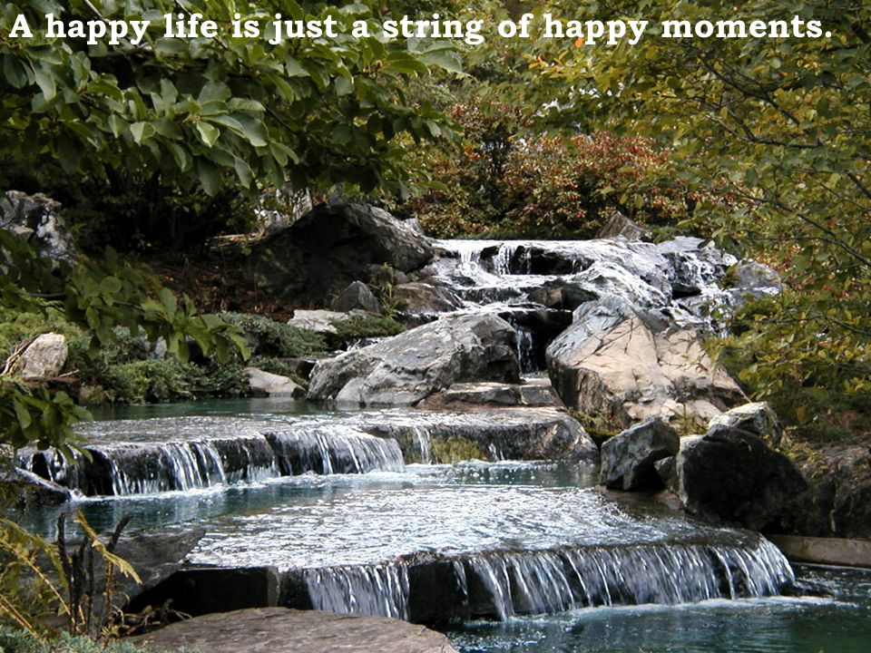 A happy life is just a string of happy moments.
