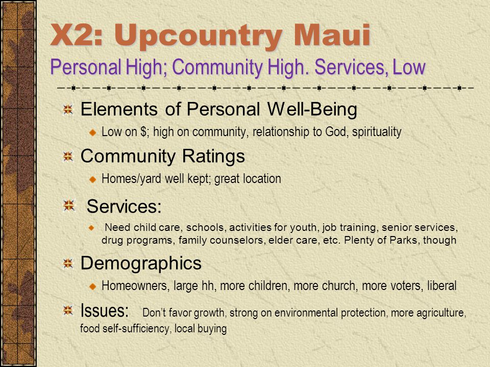 X2: Upcountry Maui Personal High; Community High. Services, Low Elements of Personal Well-Being Low on $; high on community, relationship to God, spir