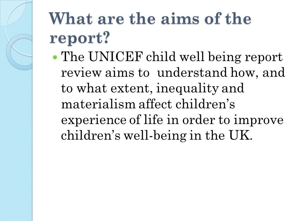 What are the aims of the report.