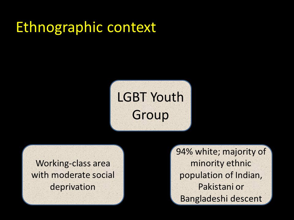 LGBT Youth Group Working-class area with moderate social deprivation 94% white; majority of minority ethnic population of Indian, Pakistani or Bangladeshi descent Ethnographic context