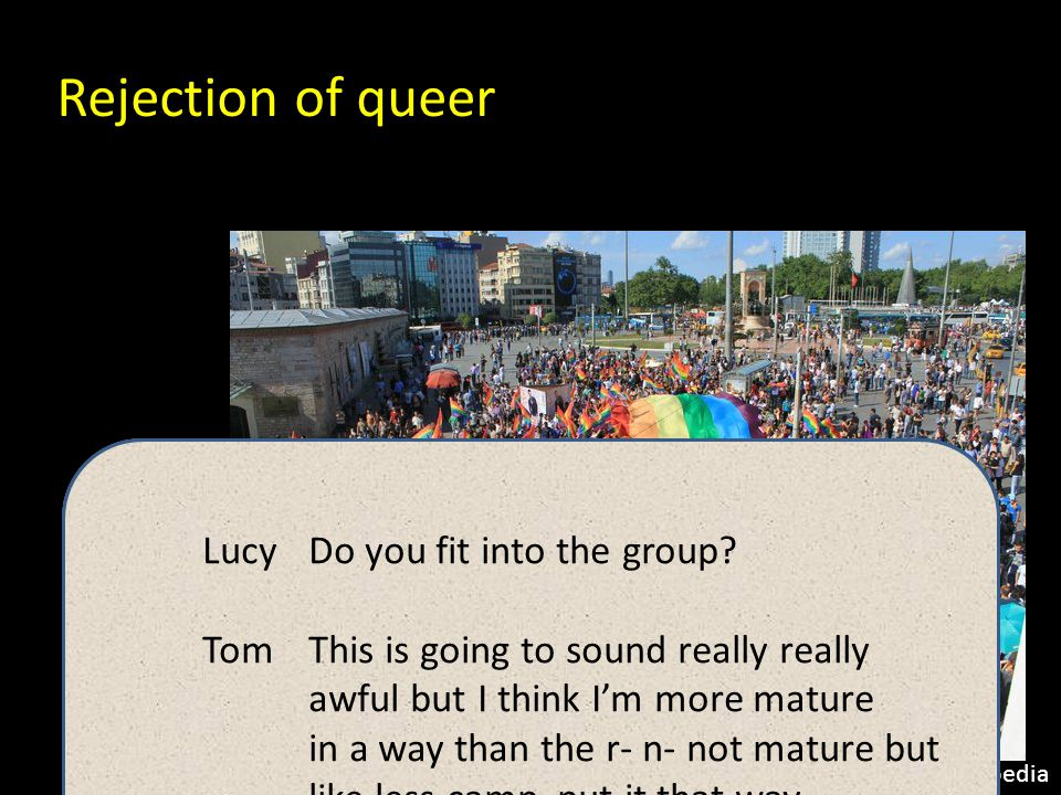 Homonormativity Homonormativity = gay people are 'normal' and 'like everybody else' Duggan (2002) Neoliberalism = increased privatisation, decreased state support, increased individualism …the publicizing strategies of 'the gay movement' are rejected in favour of public recognition of a domesticated, depoliticized privacy….sexual dissidence is rejected in favour of the naturalized variation of a fixed minority arrayed around a state-endorsed heterosexual primacy and prestige. (Duggan 2002: 190) State-sanctioned gay persona (Johnson and Henderson 2005) Ideal queer citizen (Agathangelou et al 2008) Nast (2002): homonormativity allows patriarchal and racist structures to be reconfigured within queer contexts.