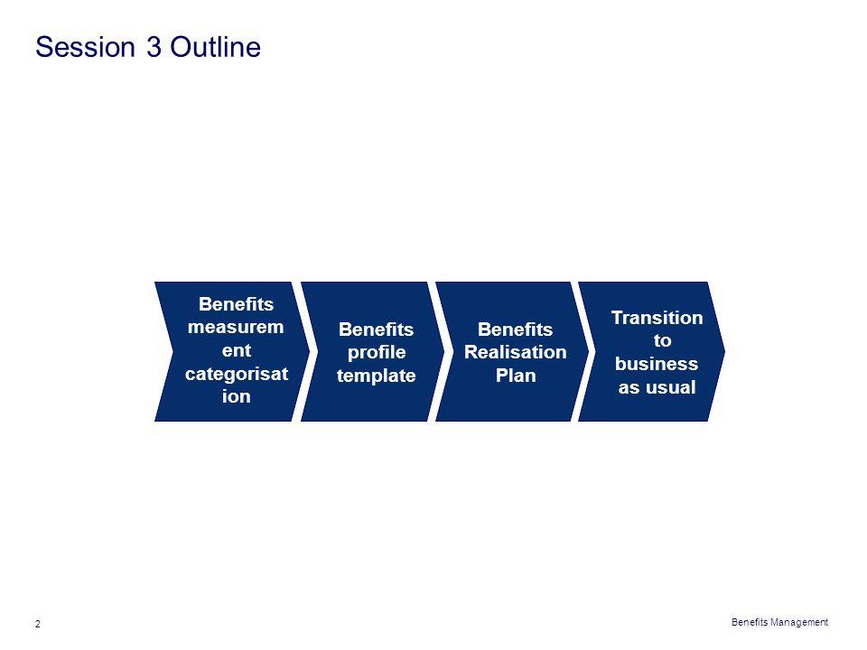 Benefits Management 2 Session 3 Outline Benefits measurem ent categorisat ion Benefits profile template Benefits Realisation Plan Transition to busine