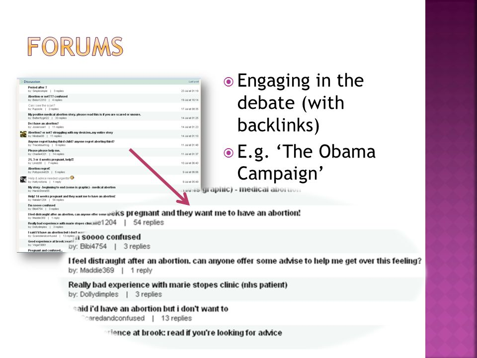  Engaging in the debate (with backlinks)  E.g. 'The Obama Campaign'