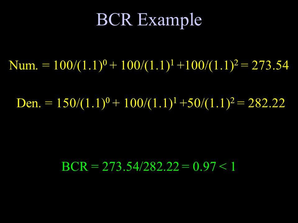 BCR Example Num. = 100/(1.1) 0 + 100/(1.1) 1 +100/(1.1) 2 = 273.54 Den.