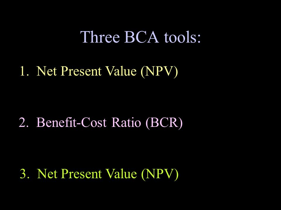 Three BCA tools: 1. Net Present Value (NPV) 2. Benefit-Cost Ratio (BCR) 3. Net Present Value (NPV)