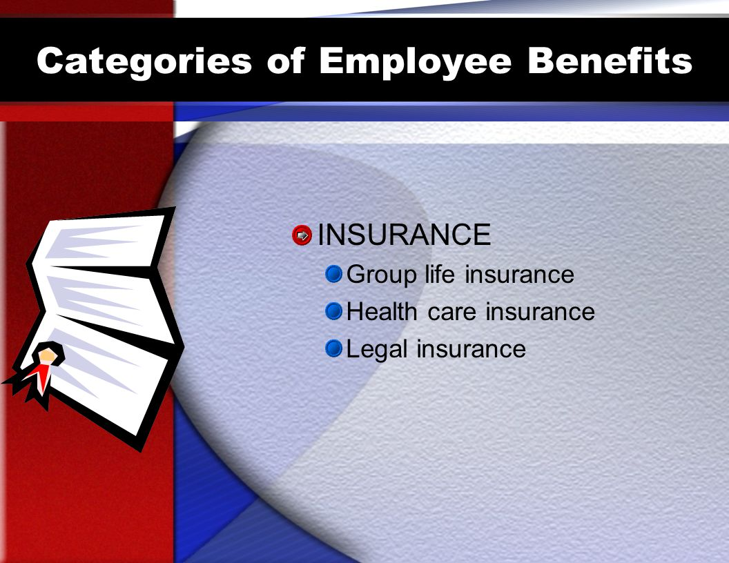 Categories of Employee Benefits INSURANCE Group life insurance Health care insurance Legal insurance