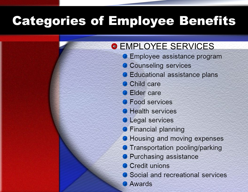 Categories of Employee Benefits EMPLOYEE SERVICES Employee assistance program Counseling services Educational assistance plans Child care Elder care Food services Health services Legal services Financial planning Housing and moving expenses Transportation pooling/parking Purchasing assistance Credit unions Social and recreational services Awards