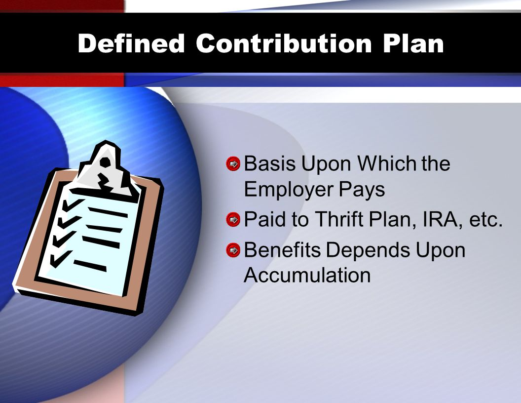 Defined Contribution Plan Basis Upon Which the Employer Pays Paid to Thrift Plan, IRA, etc.