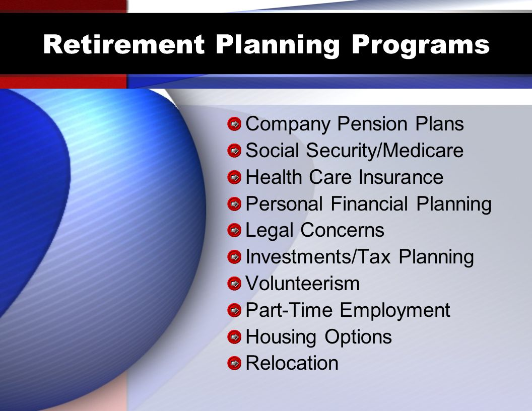 Retirement Planning Programs Company Pension Plans Social Security/Medicare Health Care Insurance Personal Financial Planning Legal Concerns Investments/Tax Planning Volunteerism Part-Time Employment Housing Options Relocation