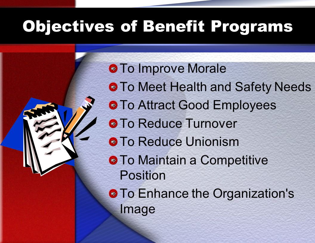 Objectives of Benefit Programs To Improve Morale To Meet Health and Safety Needs To Attract Good Employees To Reduce Turnover To Reduce Unionism To Maintain a Competitive Position To Enhance the Organization s Image