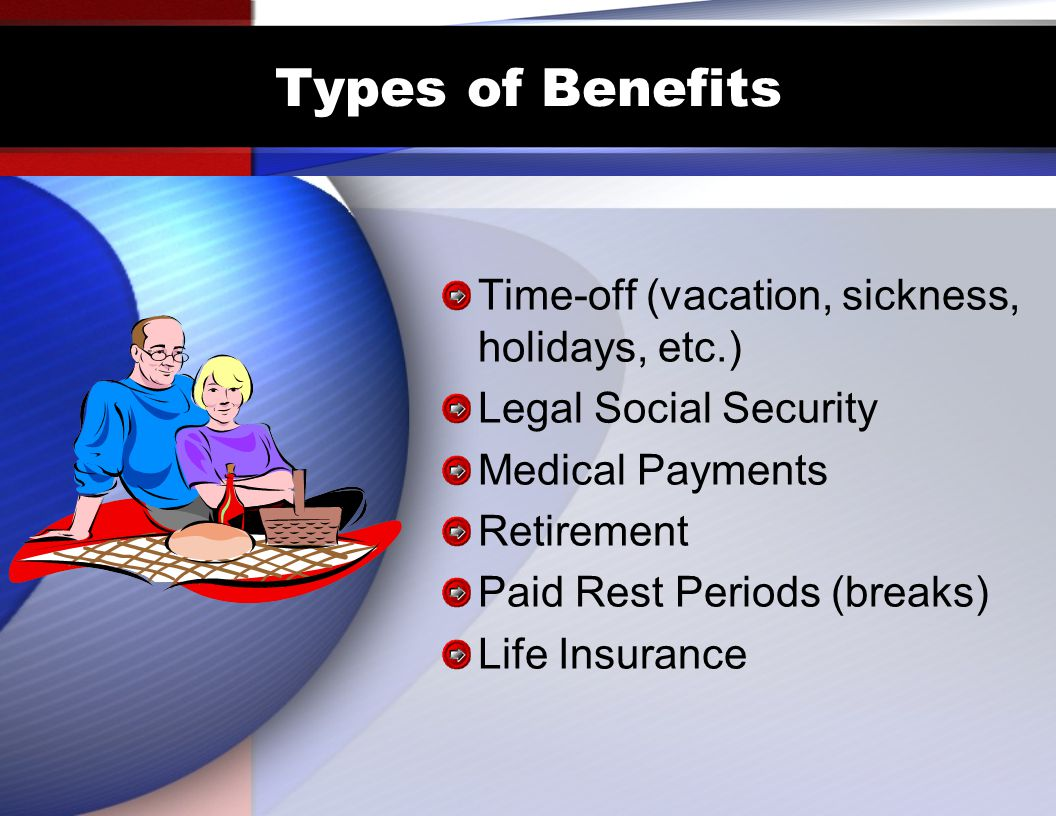 Types of Benefits Time-off (vacation, sickness, holidays, etc.) Legal Social Security Medical Payments Retirement Paid Rest Periods (breaks) Life Insurance