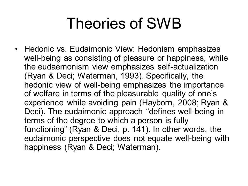 Theories of SWB Hedonic vs.