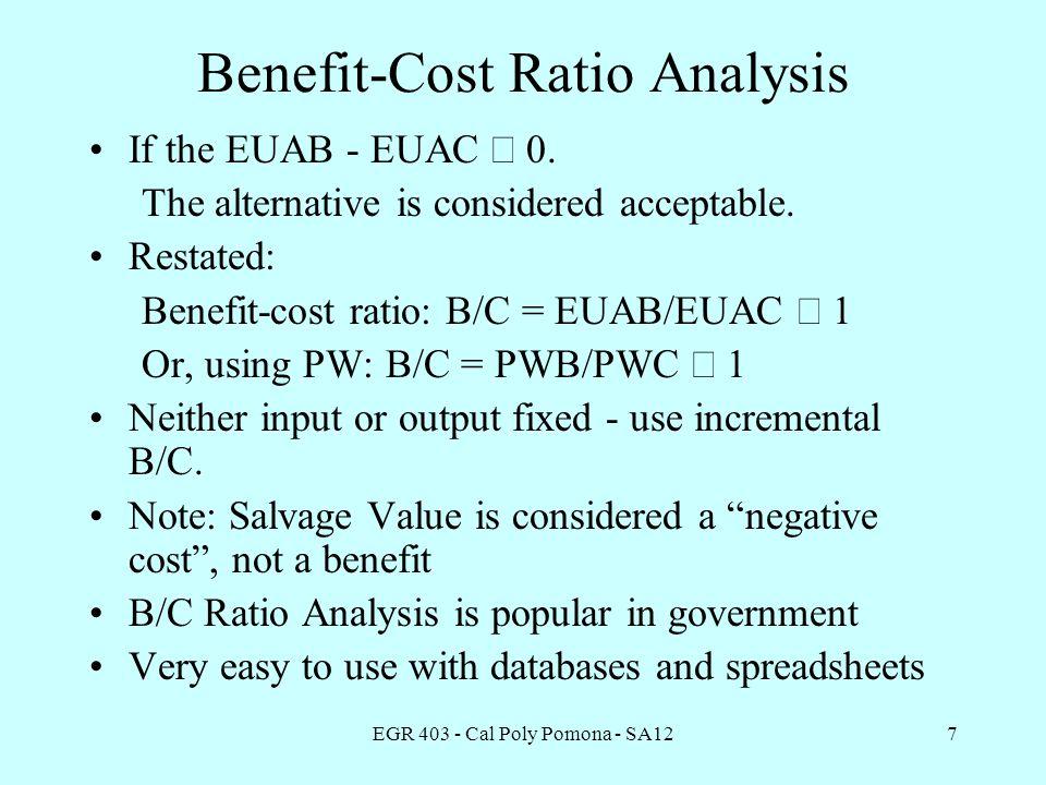 EGR 403 - Cal Poly Pomona - SA127 Benefit-Cost Ratio Analysis If the EUAB - EUAC  0.