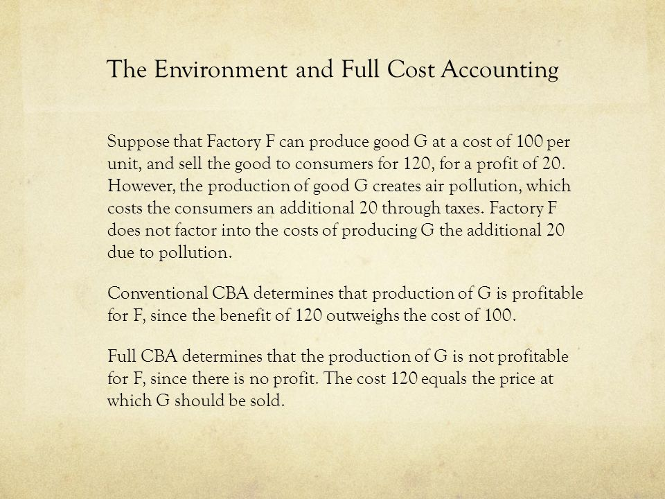 An Environmental Argument for FCBA 1.
