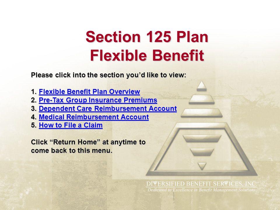 Section 125 Plan Flexible Benefit Please click into the section you'd like to view: 1. Flexible Benefit Plan Overview 2. Pre-Tax Group Insurance Premi