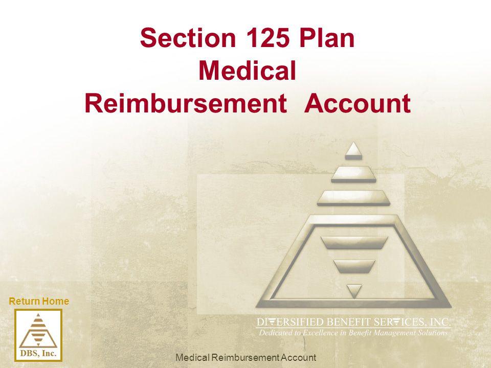 Return Home Section 125 Plan Medical Reimbursement Account Medical Reimbursement Account
