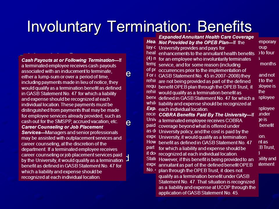 Involuntary Termination: Benefits Health Care: Health Care Coverage Health Care Coverage Expanded Health Coverage Expanded Health Coverage Expanded An