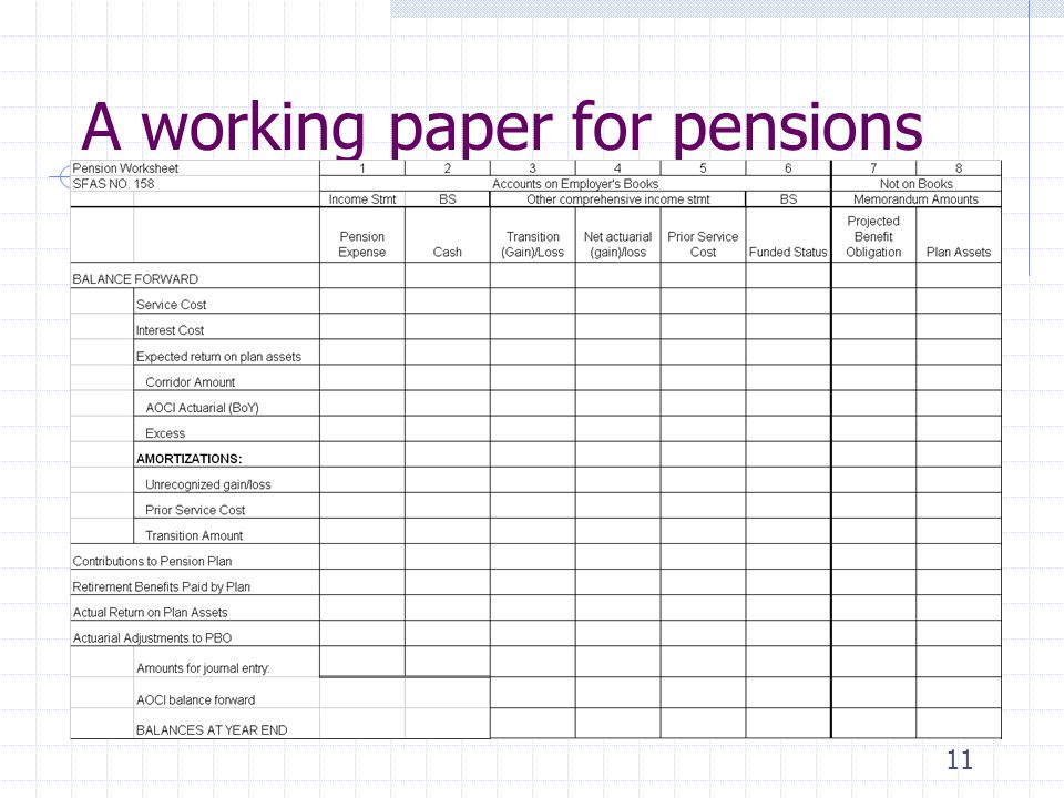11 A working paper for pensions