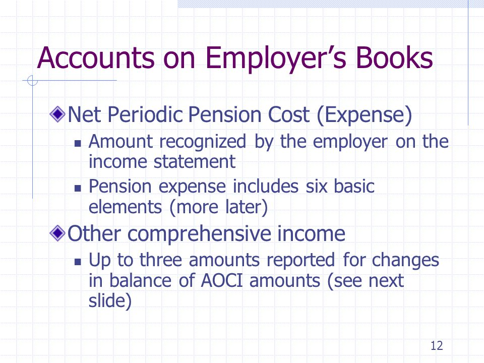 12 Accounts on Employer's Books Net Periodic Pension Cost (Expense) Amount recognized by the employer on the income statement Pension expense includes six basic elements (more later) Other comprehensive income Up to three amounts reported for changes in balance of AOCI amounts (see next slide)