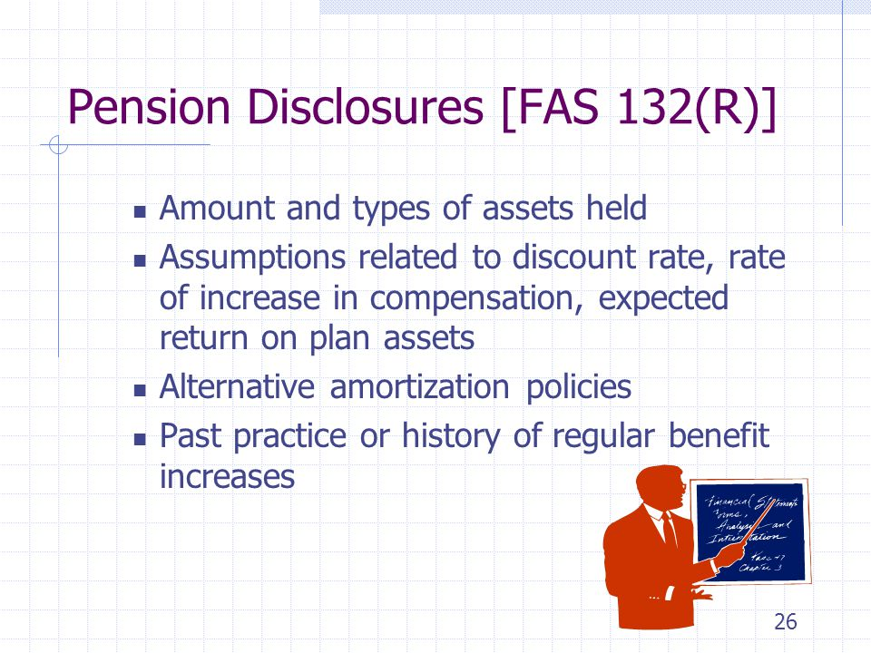 26 Pension Disclosures [FAS 132(R)] Amount and types of assets held Assumptions related to discount rate, rate of increase in compensation, expected return on plan assets Alternative amortization policies Past practice or history of regular benefit increases