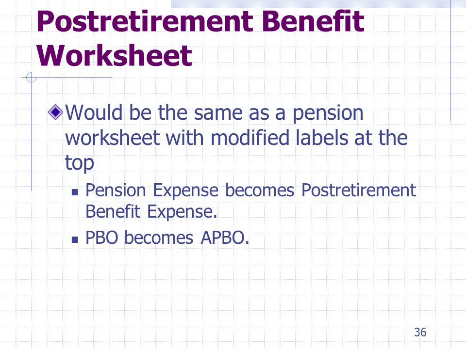 36 Postretirement Benefit Worksheet Would be the same as a pension worksheet with modified labels at the top Pension Expense becomes Postretirement Benefit Expense.