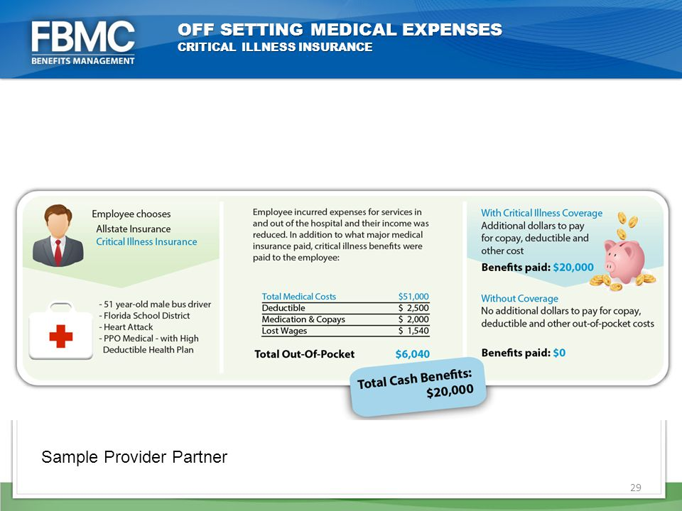 OFF SETTING MEDICAL EXPENSES CRITICAL ILLNESS INSURANCE 29 Sample Provider Partner