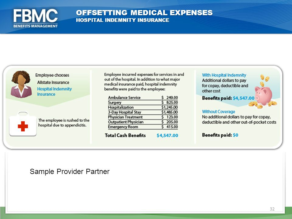 32 OFFSETTING MEDICAL EXPENSES HOSPITAL INDEMNITY INSURANCE Sample Provider Partner
