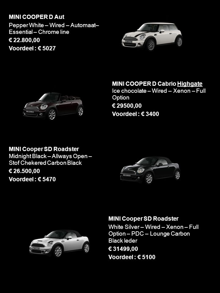 MINI COOPER D Aut Pepper White – Wired – Automaat– Essential – Chrome line € 22.800,00 Voordeel : € 5027 MINI COOPER D Cabrio Highgate Ice chocolate –