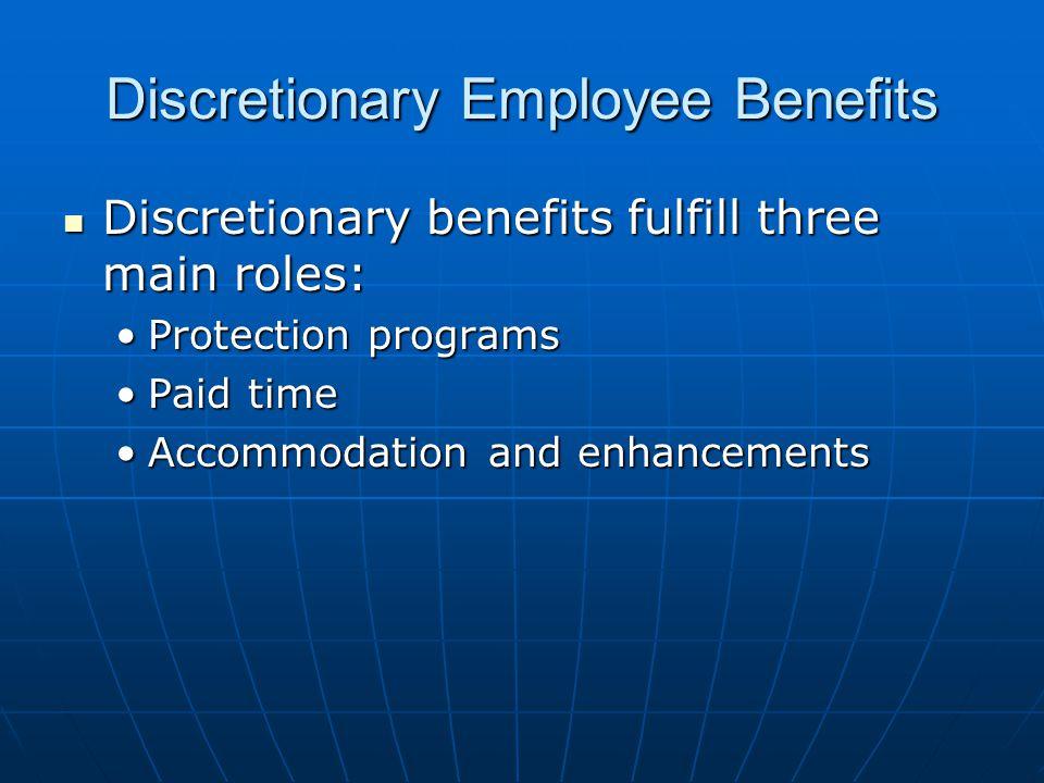 Discretionary Employee Benefits Discretionary benefits fulfill three main roles: Discretionary benefits fulfill three main roles: Protection programsProtection programs Paid timePaid time Accommodation and enhancementsAccommodation and enhancements