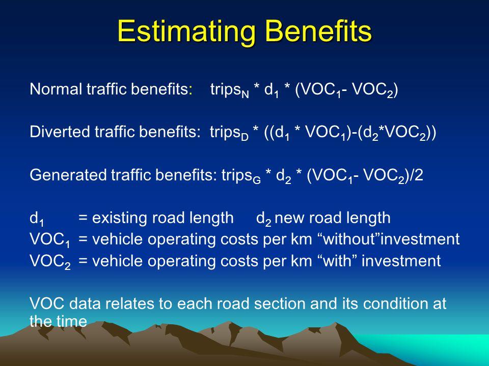 Estimating Benefits Normal traffic benefits: trips N * d 1 * (VOC 1 - VOC 2 ) Diverted traffic benefits: trips D * ((d 1 * VOC 1 )-(d 2 *VOC 2 )) Gene