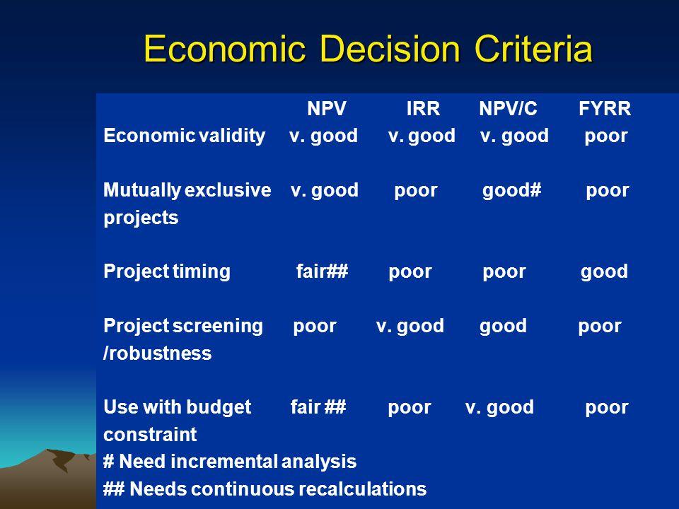 Economic Decision Criteria NPV IRR NPV/CFYRR Economic validity v. good v. good v. good poor Mutually exclusive v. good poor good# poor projects Projec