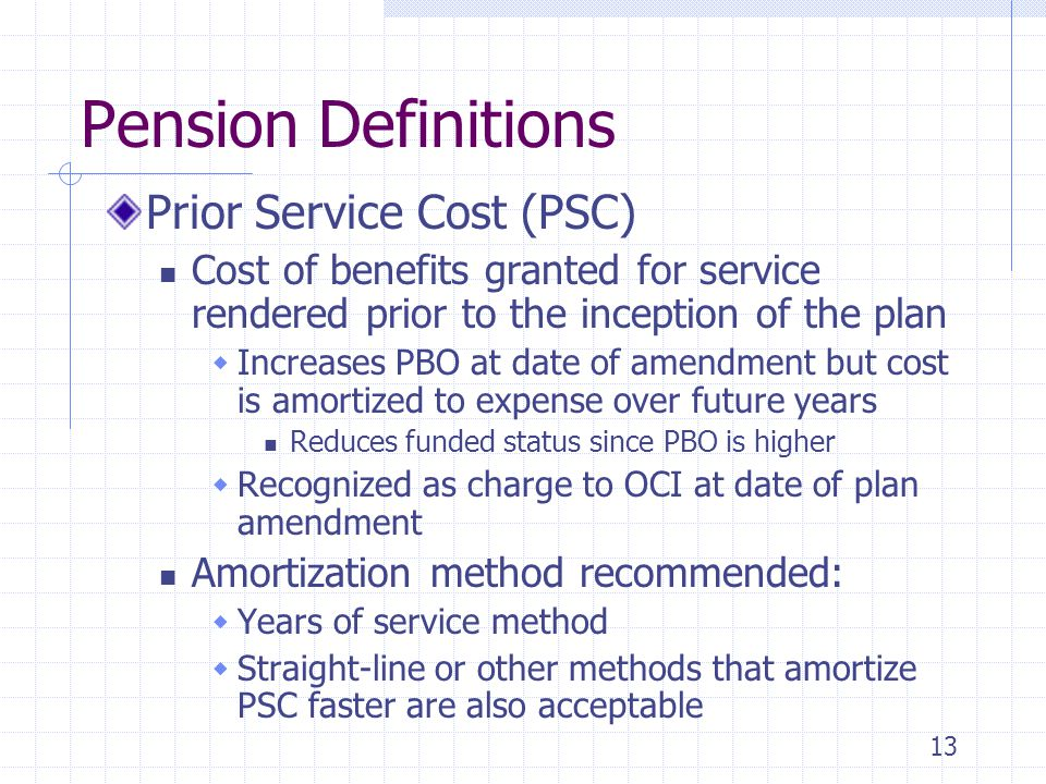 13 Pension Definitions Prior Service Cost (PSC) Cost of benefits granted for service rendered prior to the inception of the plan  Increases PBO at da