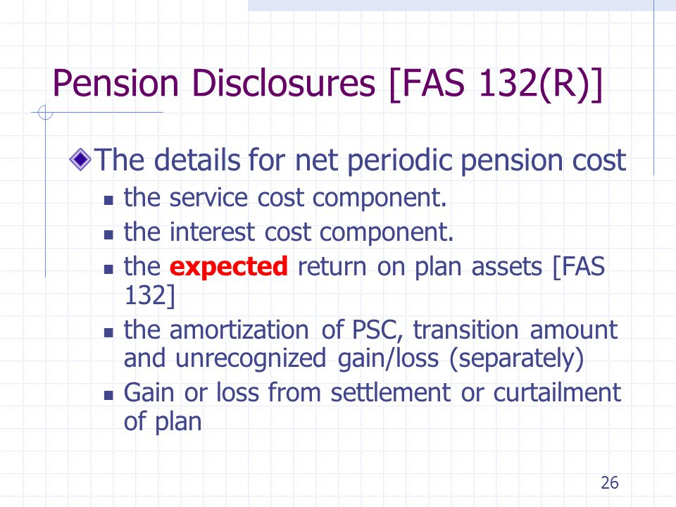 26 Pension Disclosures [FAS 132(R)] The details for net periodic pension cost the service cost component. the interest cost component. the expected re