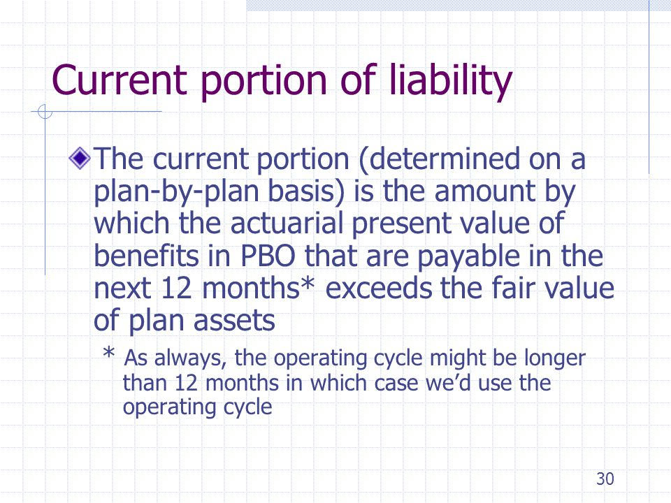 30 Current portion of liability The current portion (determined on a plan-by-plan basis) is the amount by which the actuarial present value of benefit