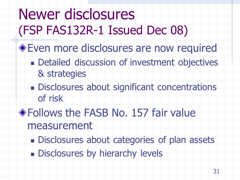 Newer disclosures (FSP FAS132R-1 Issued Dec 08) Even more disclosures are now required Detailed discussion of investment objectives & strategies Discl