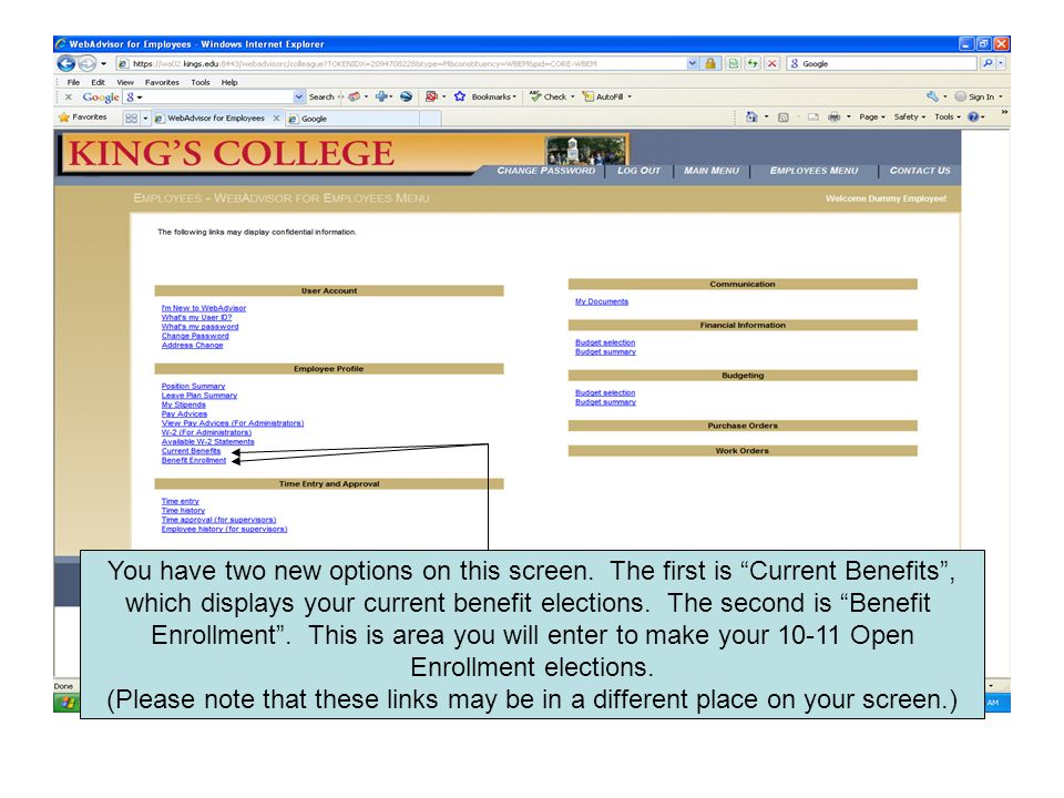 If you click-on Current Benefits you will get a screen similar to this which displays your 09-10 benefit elections.
