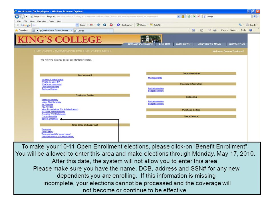 Please click-on Enroll or Change Benefits and then Continue .