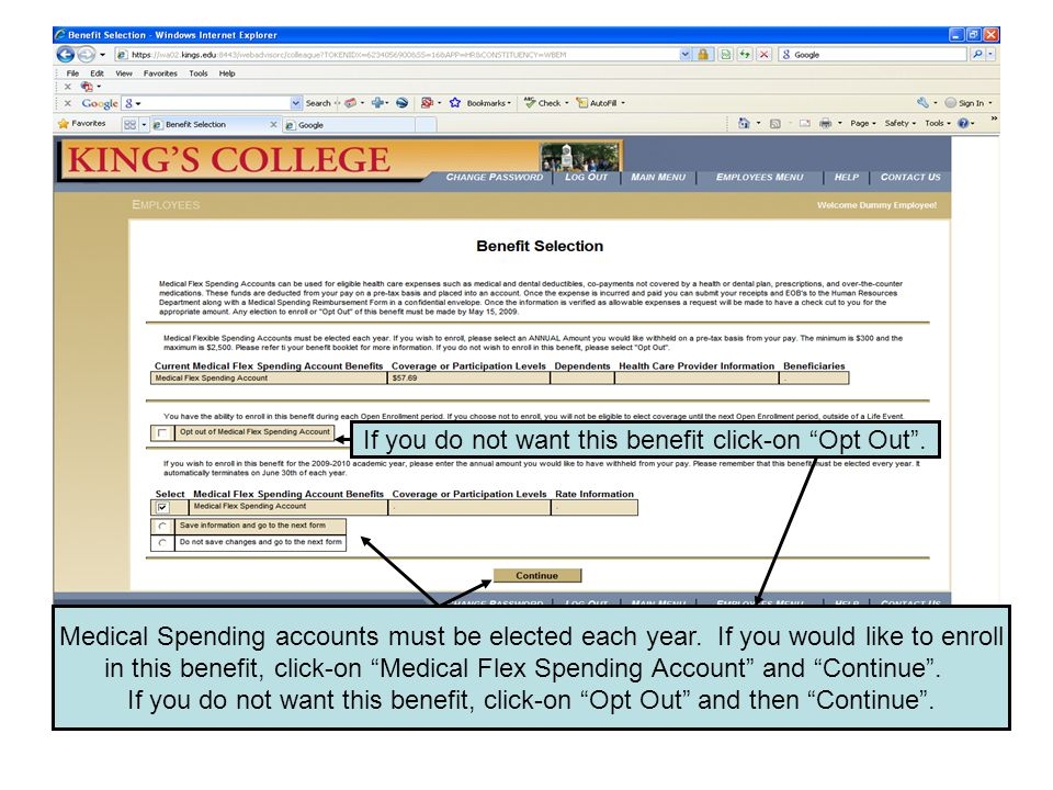 If you chose to enroll in the Medical Flex Spending Account, you will have this screen in front of you.