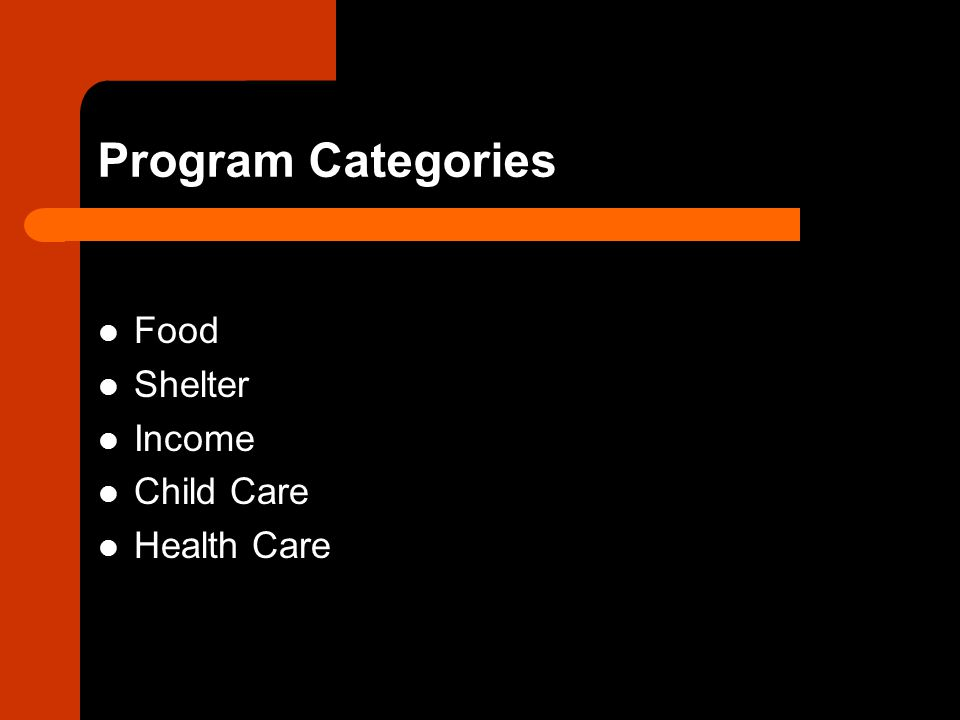 Program Categories Food Shelter Income Child Care Health Care