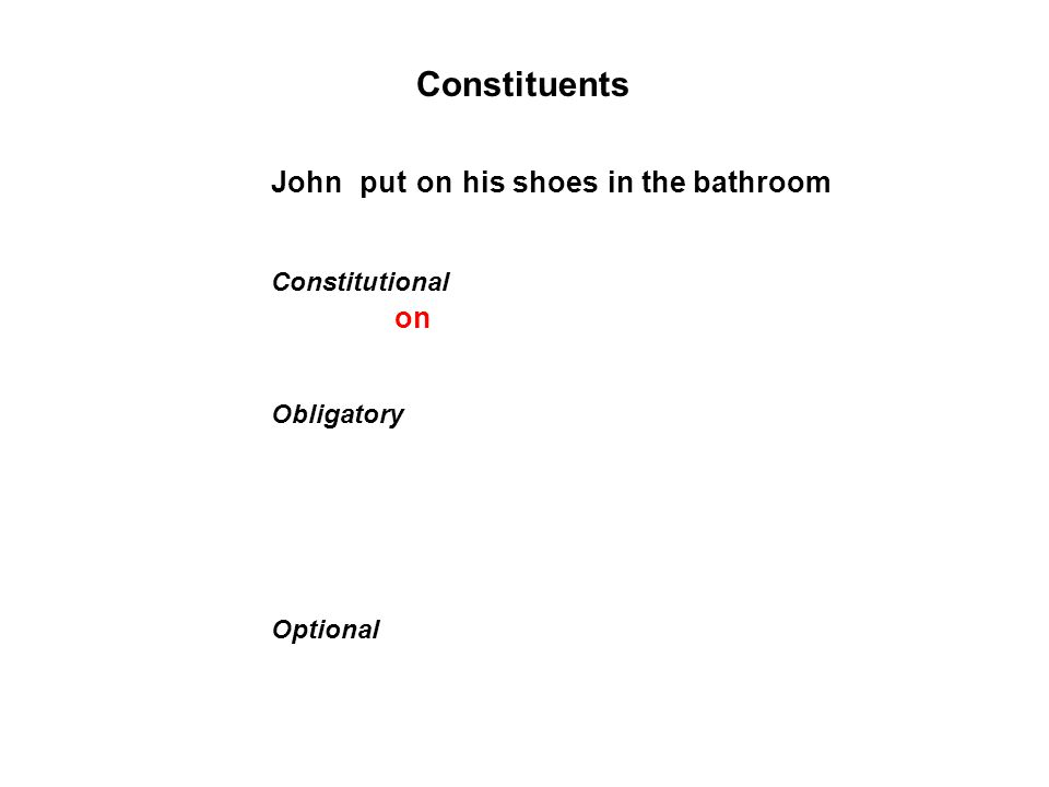 Constituents Obligatory Optional Johnhis shoesin the bathroomputon Constitutional