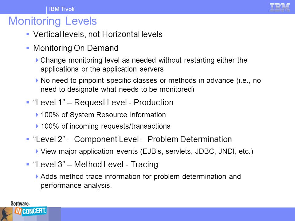 IBM Tivoli Monitoring Levels  Vertical levels, not Horizontal levels  Monitoring On Demand  Change monitoring level as needed without restarting ei