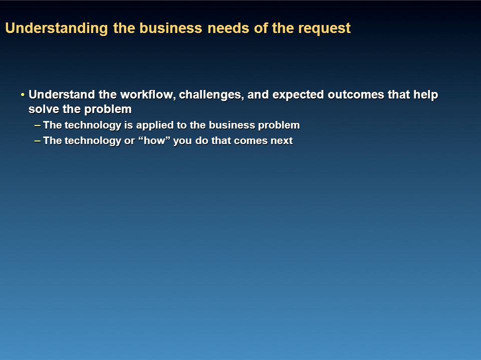 Understanding the business needs of the request Understand the workflow, challenges, and expected outcomes that help solve the problemUnderstand the w