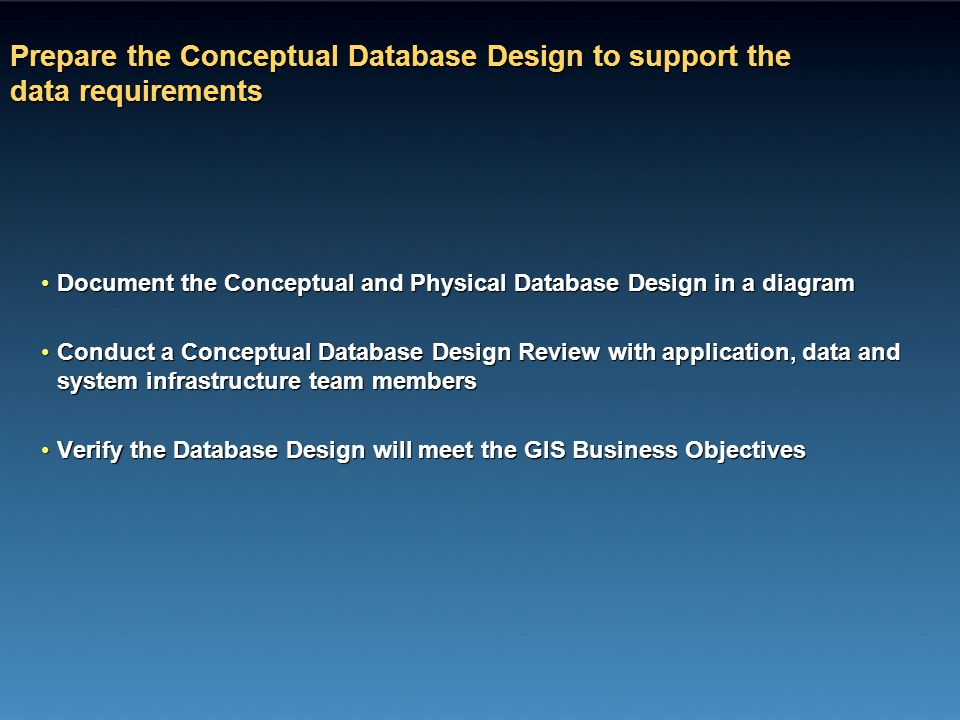 Prepare the Conceptual Database Design to support the data requirements Document the Conceptual and Physical Database Design in a diagramDocument the