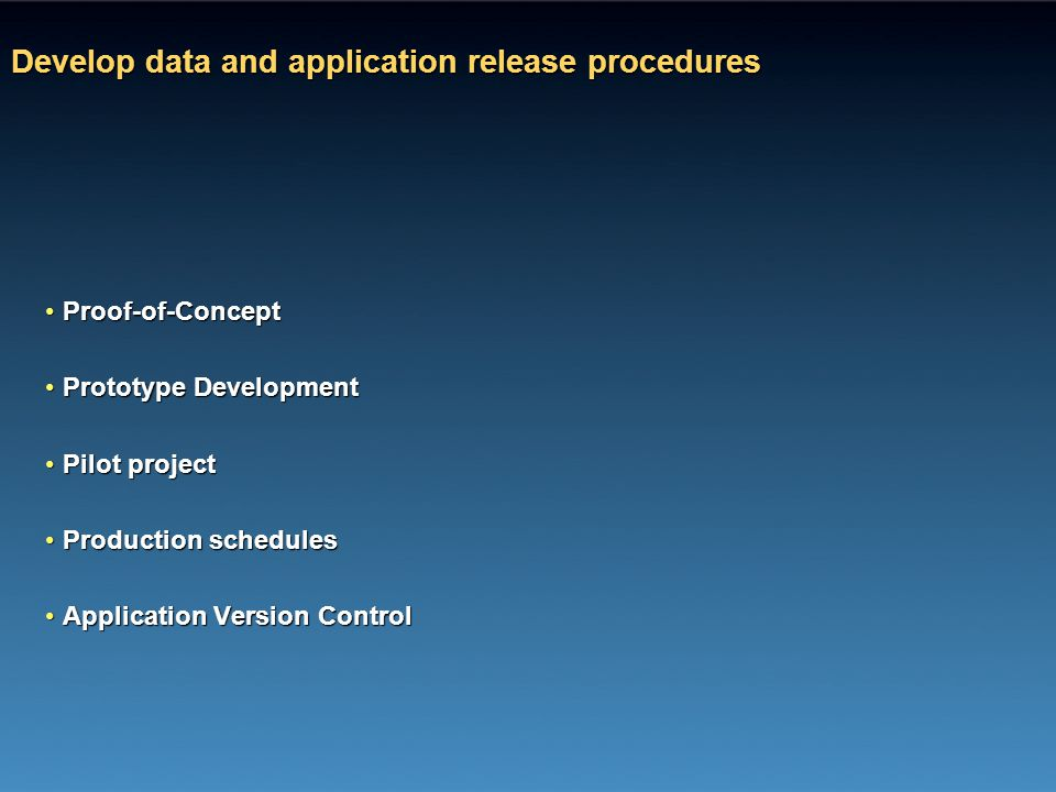 Develop data and application release procedures Proof-of-ConceptProof-of-Concept Prototype DevelopmentPrototype Development Pilot projectPilot project