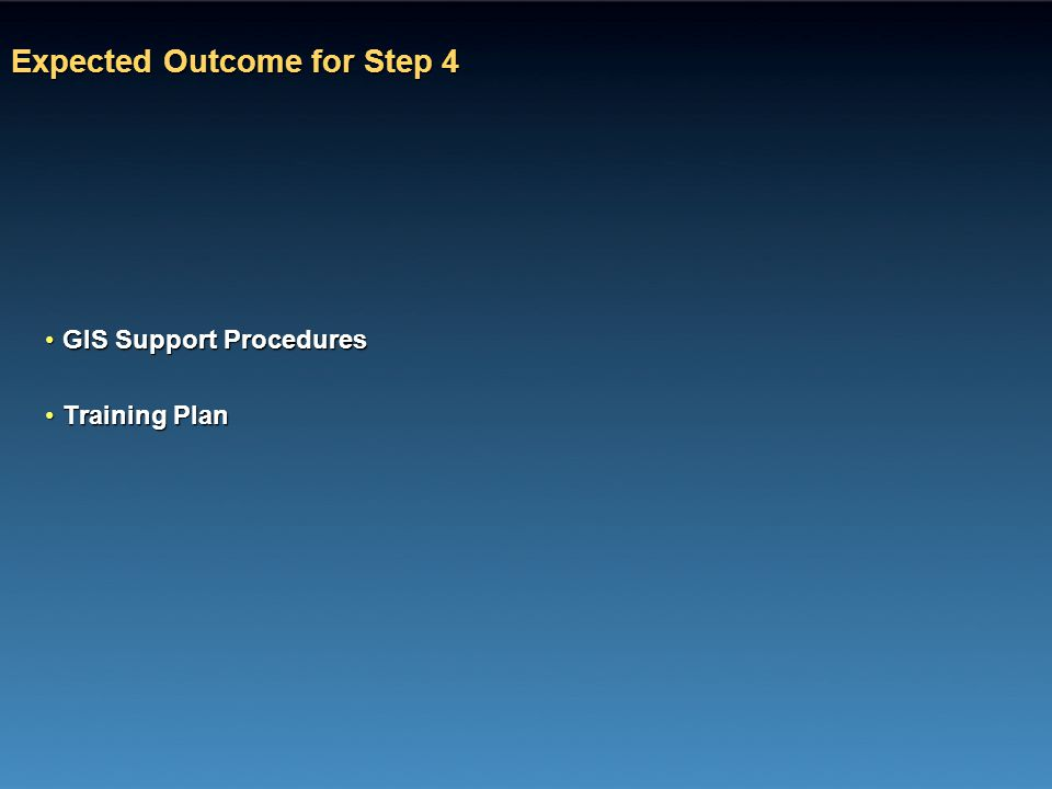 Expected Outcome for Step 4 GIS Support ProceduresGIS Support Procedures Training PlanTraining Plan
